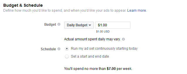 set up your ad budget