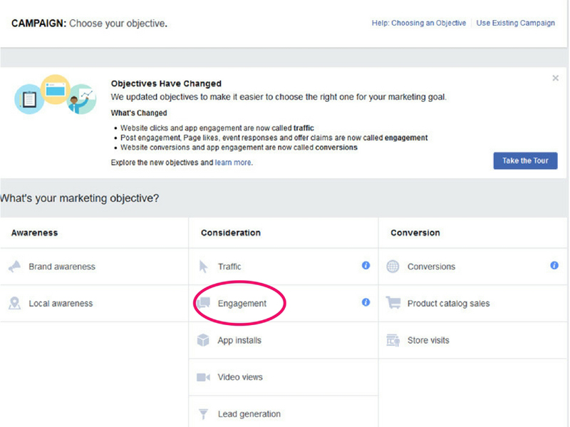 choose campaign objective for FB ads